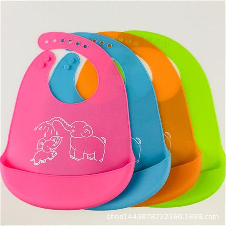 厂家直销无味硅胶母婴用品口水兜食品级硅胶材质围嘴围兜