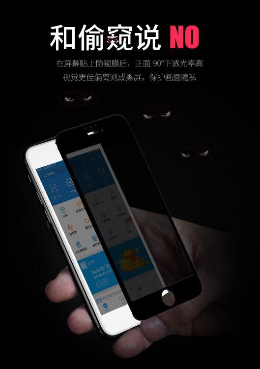 灵诺iPhone 6/7/83D 180度防窥半屏防刮防指纹钢化膜批发