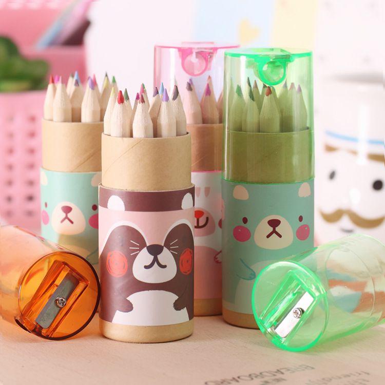 韩版可爱浮游女孩博士熊12色小铅笔绘画笔涂色笔彩色铅笔文具批发