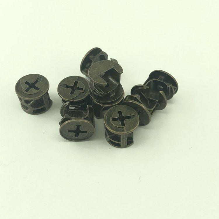 文信五金 三合一偏心轮 三合一连接拆装件 锌合金轮4g青铜