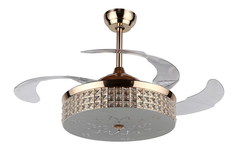 中山欧式简约水晶led节能隐形遥控风扇吊扇灯客厅卧室餐厅现代