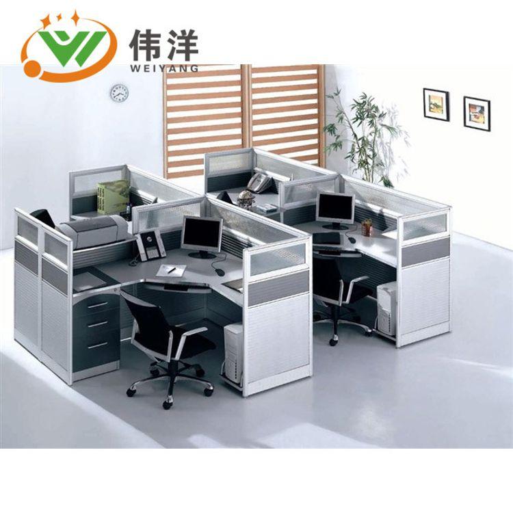 东莞职员办公桌简约现代桌椅组合家具246人位屏风隔断卡座工作位