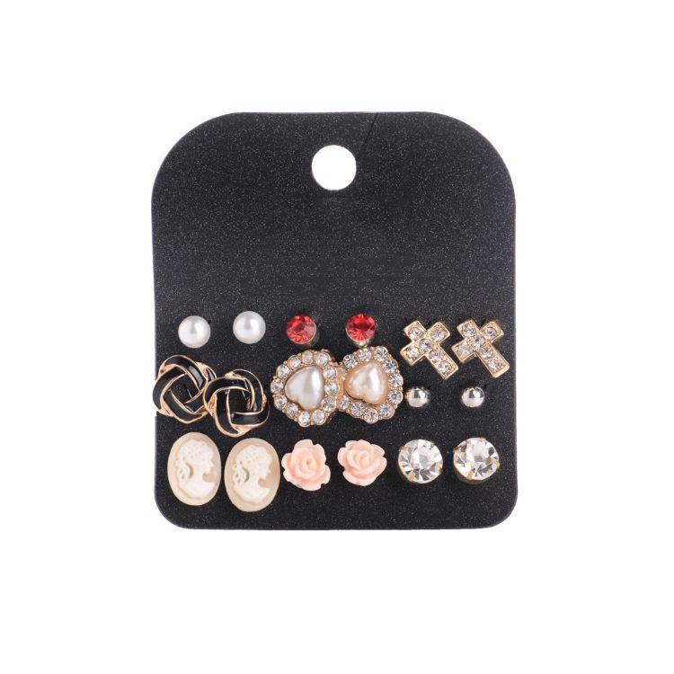 外贸水钻爱心耳钉套装 时尚珍珠十字架小耳钉9对套装批发K031919
