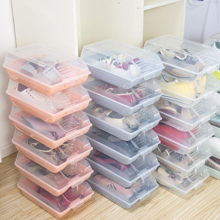 现货整箱翻盖式鞋盒 塑料透明鞋子整理盒可叠加大号收纳盒