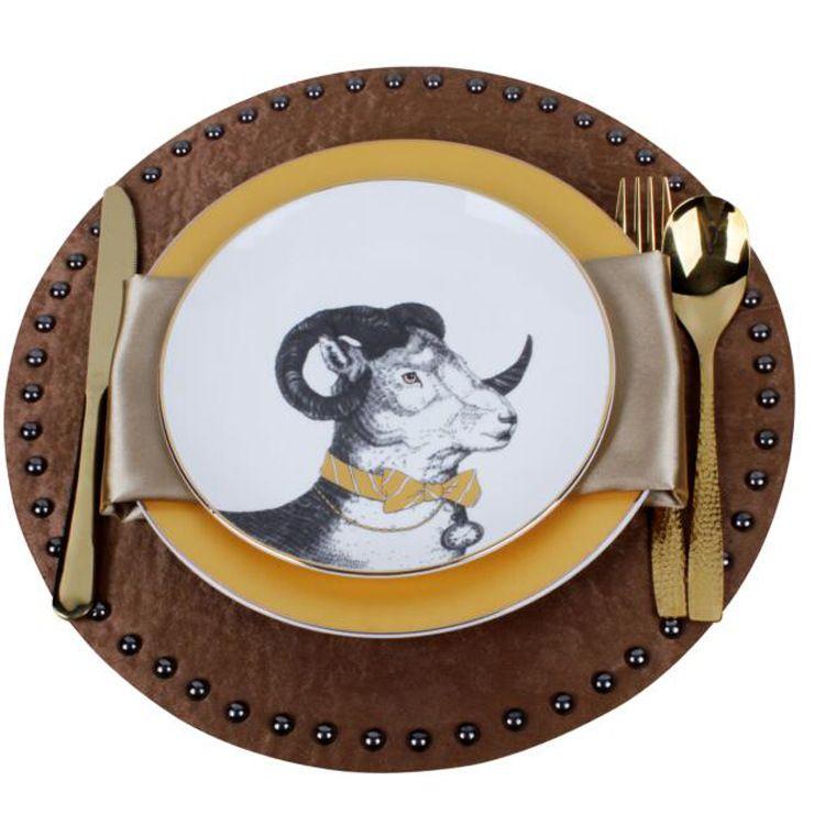 北欧西餐盘套装 样板房  酒店高端摆台 软装 绅士羚羊陶瓷盘