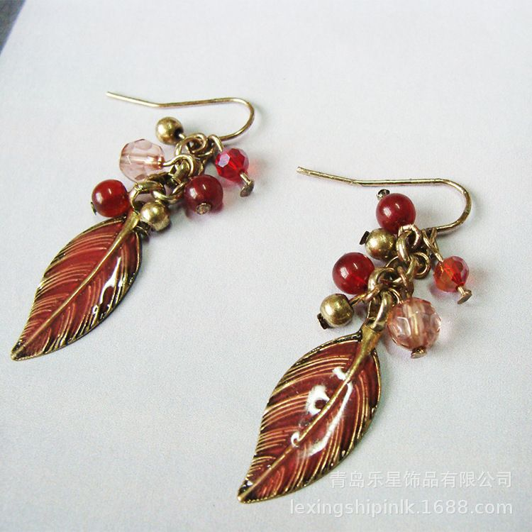 圣诞饰品欧美时尚串珠树叶镀金耳坠 韩国耳环新品热卖一件代发