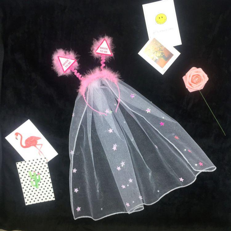 现货 新款 单身派对bride to be星星纱 三角板新娘头纱跨境头纱