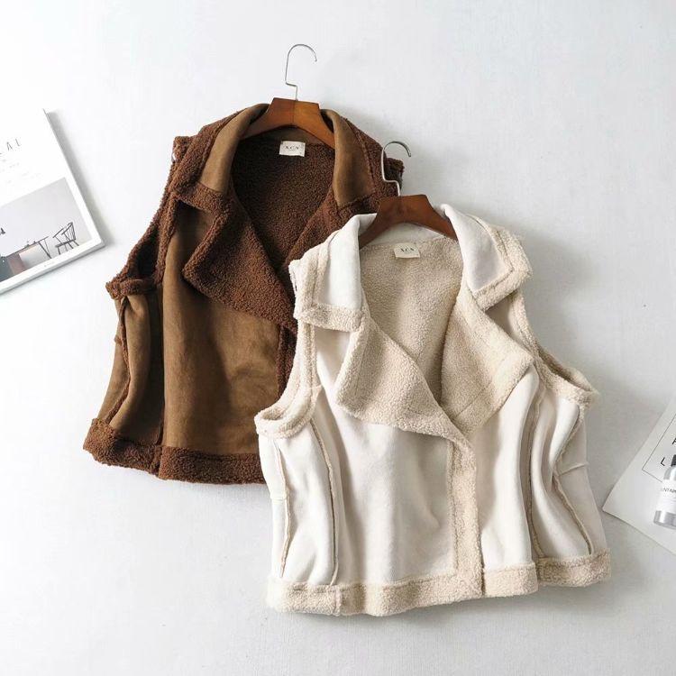 冬季新款女装欧美风大翻领无袖羊羔毛加厚翻领马甲外套女式