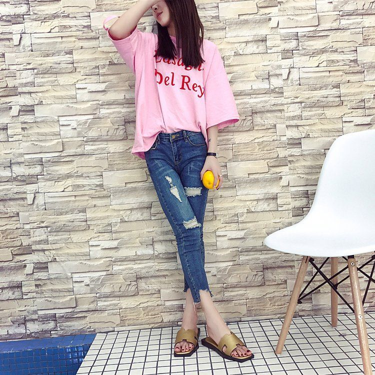 2018夏季女新款韩版H型一字拖防滑厚底时尚外穿平跟女拖鞋