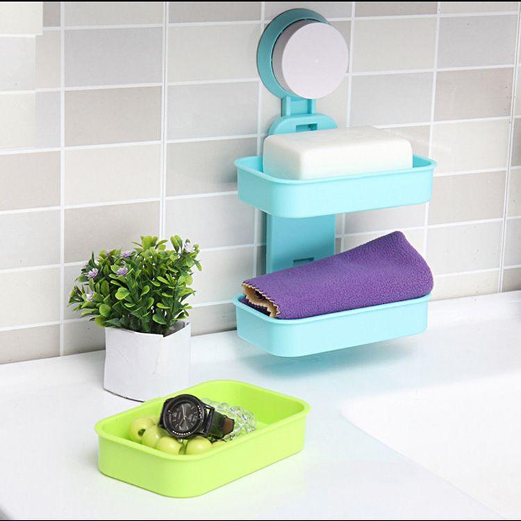 韩式 浴室强力吸盘肥皂架 双层沥水香皂盒挂壁吸盘肥皂盒批发150g