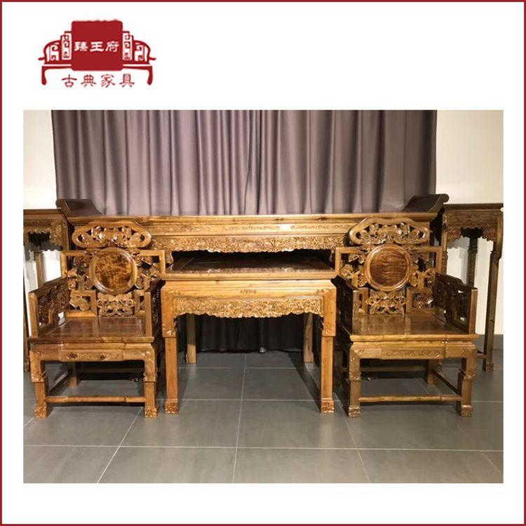 楠木中堂六件套中式条案实木供桌神台案八仙桌太师椅金丝楠木供台