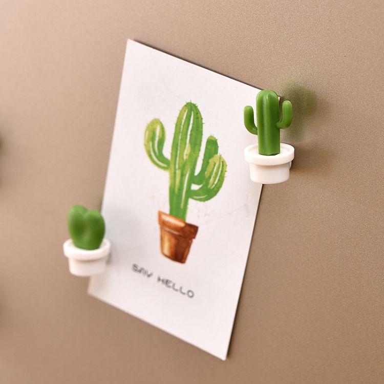 创意仙人掌蜗牛冰箱贴便利留言磁贴立体植物造型留言磁贴 5个盒装