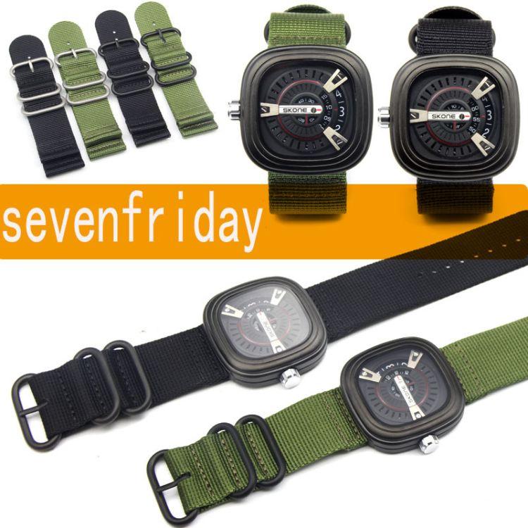 适配SevenFriday手表链女 M1M2P2P3七个星期五尼龙表带男帆布28mm