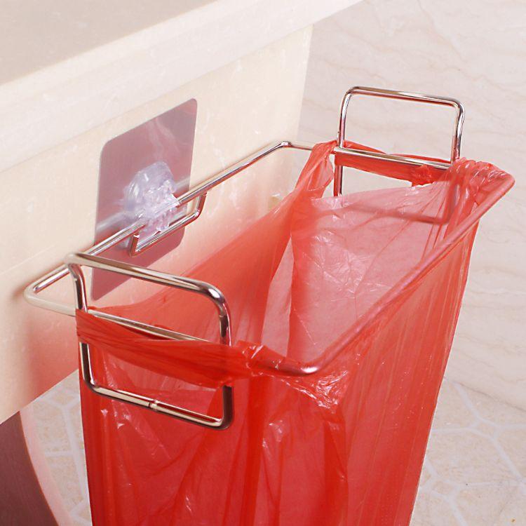 2018厨房卫生间创意不锈钢垃圾袋架办公室收纳无痕免打孔垃圾挂架