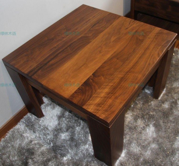 上海家具厂家定制绿林木语品牌黑胡桃木进口实木角几休闲桌简约