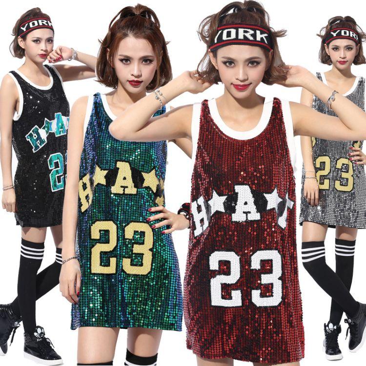 欧美亮片字母23号夜店DS时尚背心表演服 现代爵士舞嘻哈街舞服饰