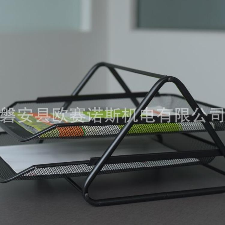 厂家直销可拆装两层文件篮铁网文具办公用品办公桌收纳
