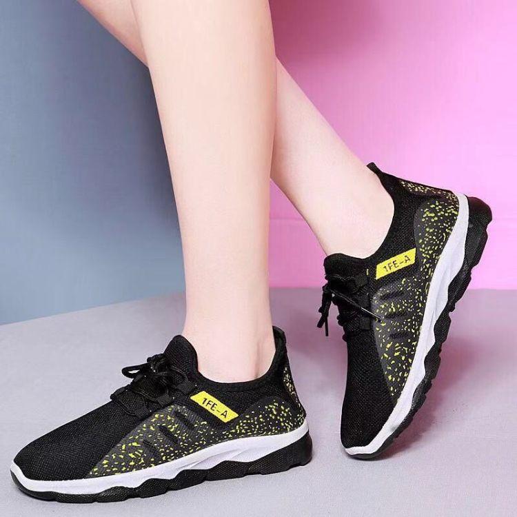 春秋新款仿飞织布鞋女士休闲老北京布鞋健步鞋厚底弹力系带防滑