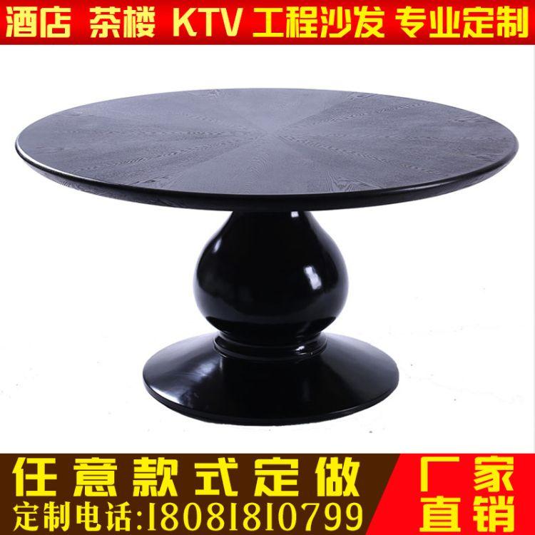 厂家直销新中式餐桌现代简约圆桌现代圆台面实木饭桌酒店餐厅圆桌