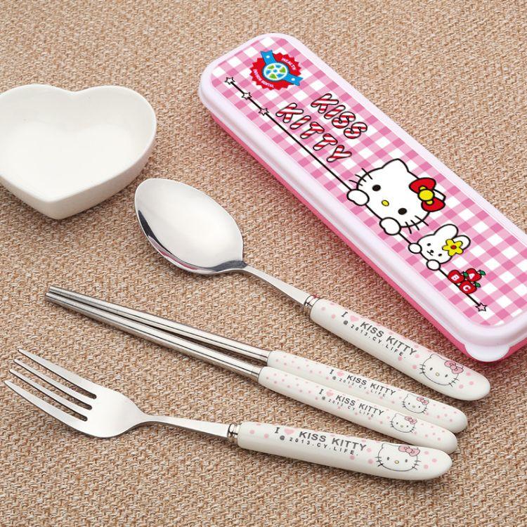 卡通陶瓷手柄不锈钢便携勺筷叉子三件套儿童学生餐具带盒子装批发