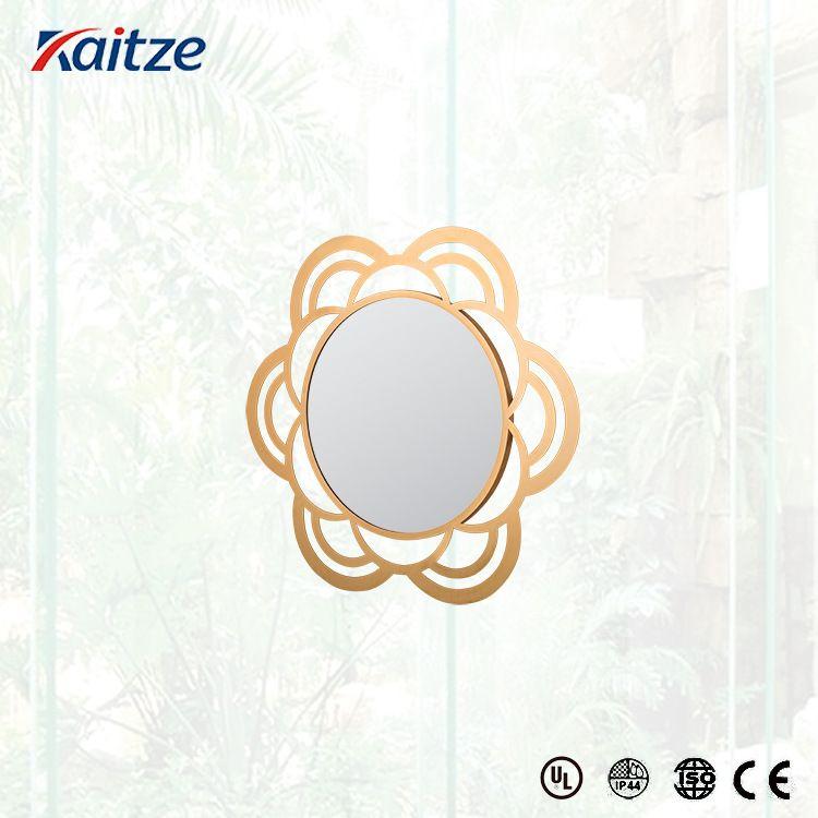 挂墙卫生间化妆镜 圆形镜子金色电镀带框镜 高档浴室镜子 厂家