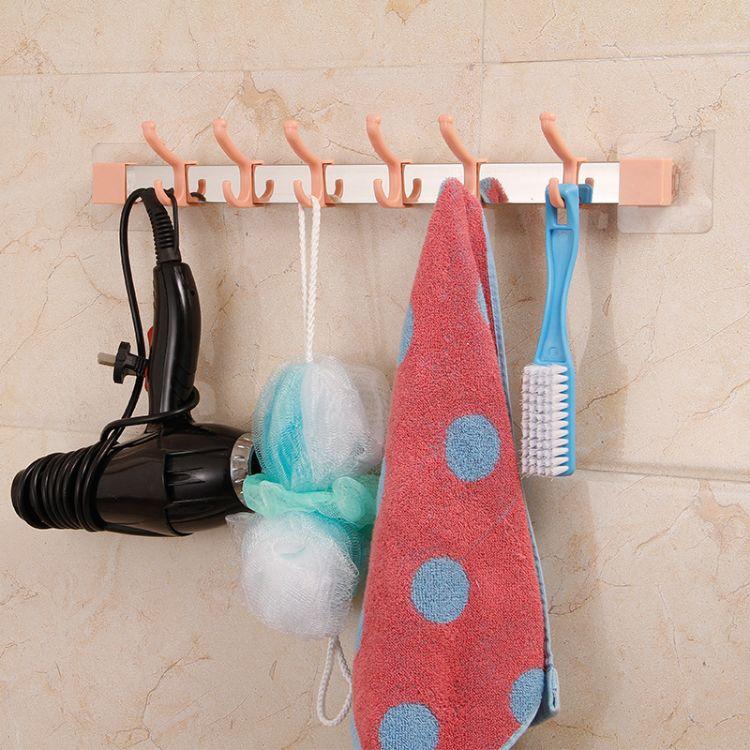 厂家直销不锈钢毛巾架浴室浴巾挂架强力无痕免钉多钩毛巾杆浴巾架