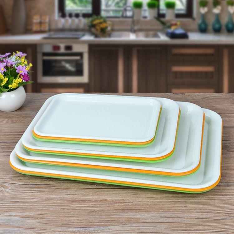 长方形塑料托盘密胺盘茶盘茶托果盘杂物放置白橙绿三色多规格可选