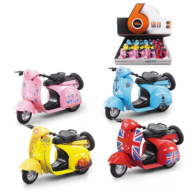 合金声光摩托车车模 批发价格 儿童 新款小绵羊复古玩具车批发零售