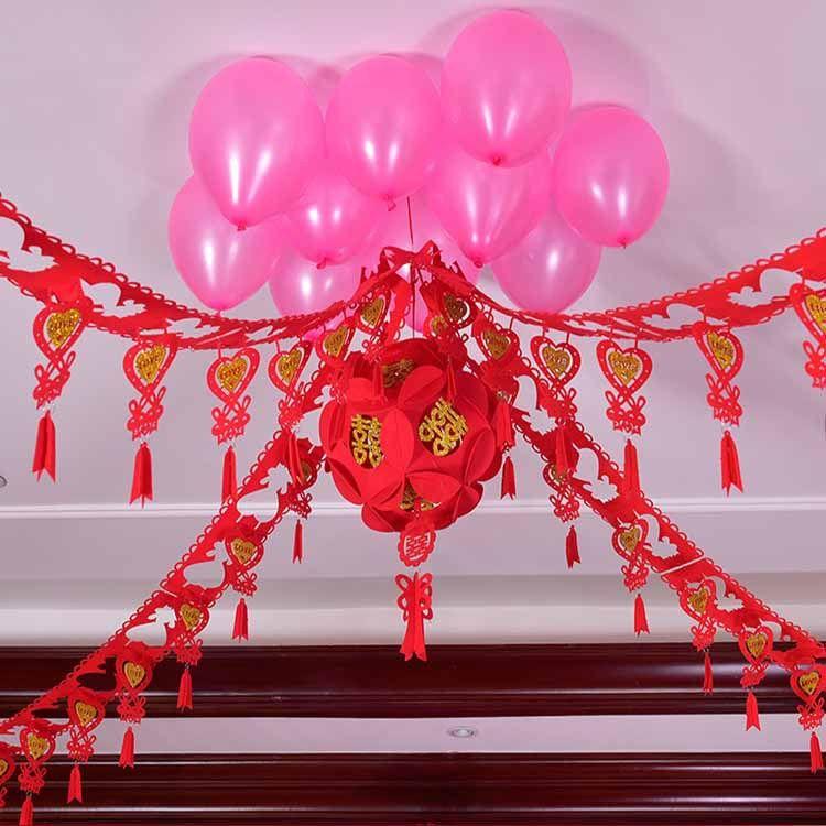 结婚庆用品婚礼新房婚房装饰拉花卧室布置创意拉花无纺一件代发