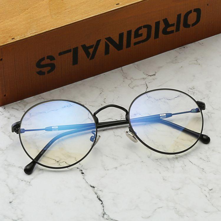 2018新款韩版复古防蓝光护目眼镜 平光眼镜可配近视 工厂批发