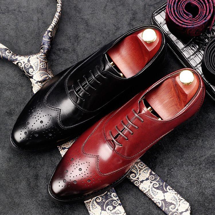 跨境专供速卖通亚马逊爆款男士雕花皮鞋牛皮男鞋商务正装一件代发