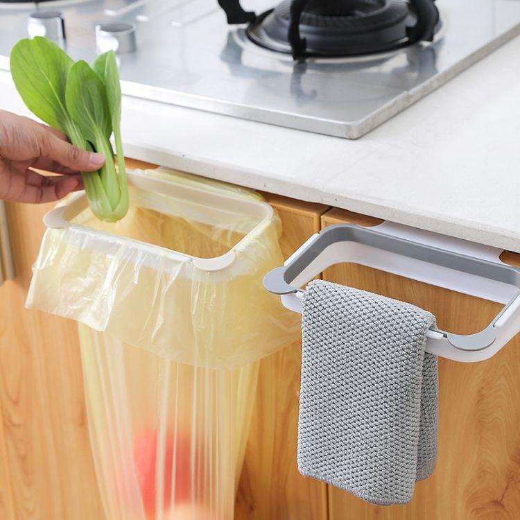 素色熊猫厨房门背式手提垃圾袋支架 家用橱柜门后抹布挂架垃圾架