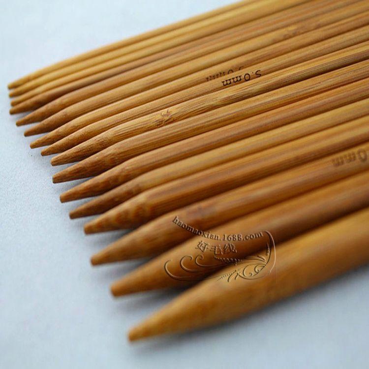 双头碳化竹子毛衣针 编织工具短针25cm 粗棒针竹直针双尖短竹炭针