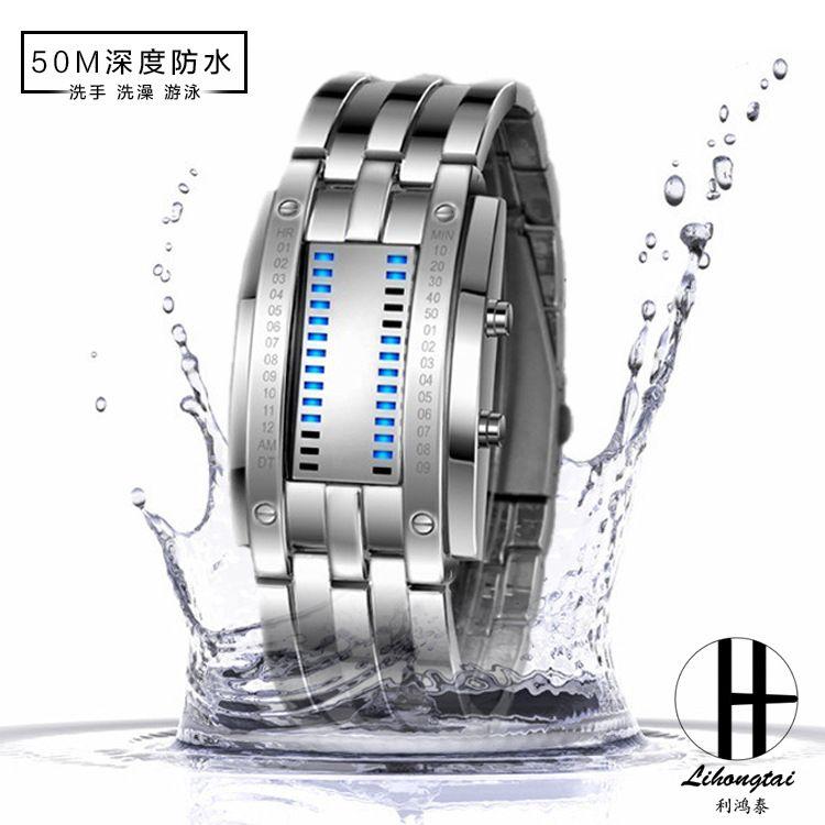 防水高档钨钢情侣表韩版男士二进制双排LED手表厂家直销批发