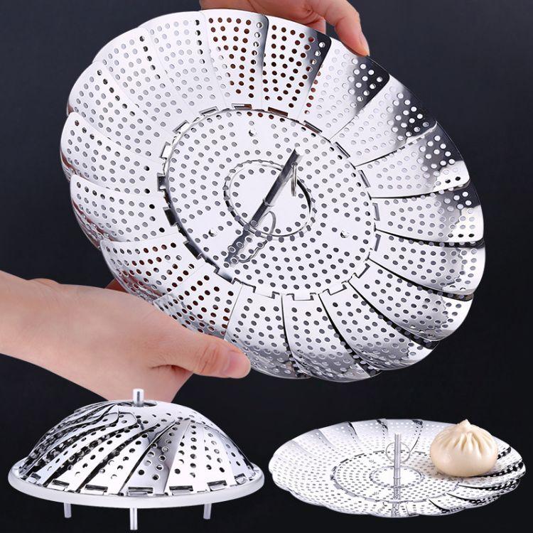ssgp带磁厨房不锈钢盘折叠高脚包子馒头垫屉架可伸缩水果篮蒸架