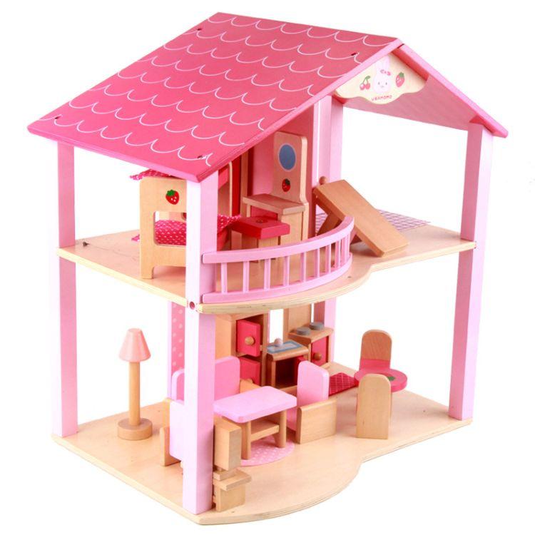 新品仿真娃娃房公仔别墅女孩过家家益智木制家具生活设施玩具