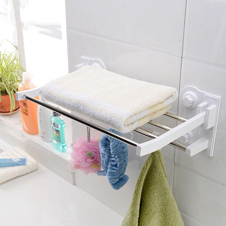 hayan/海迎 免打孔毛巾架 双层不锈钢浴室浴巾架卫生间置物架挂件