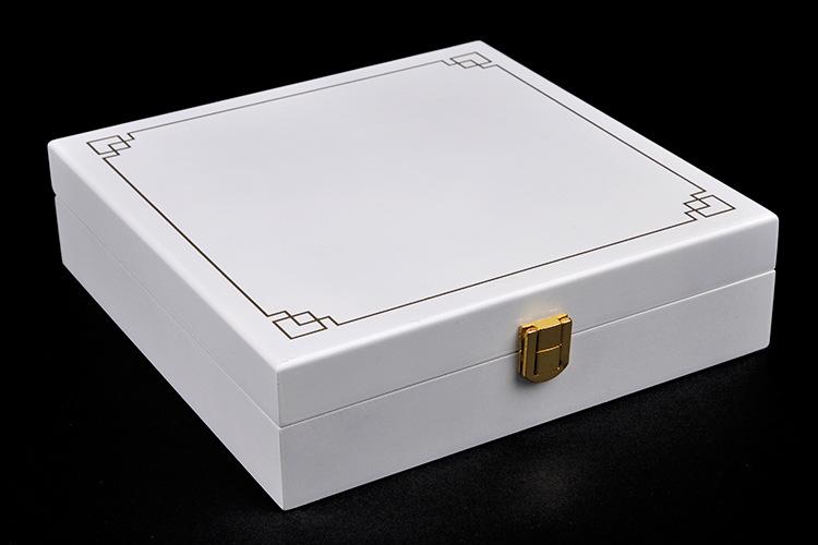 白色亮光钢琴漆花纹装饰礼盒糖果盒干果盒