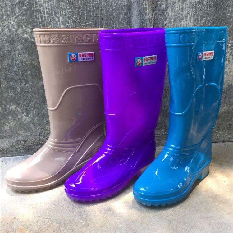 青岛环球水晶底女士 8623 时尚雨鞋雨靴 防滑防水耐磨