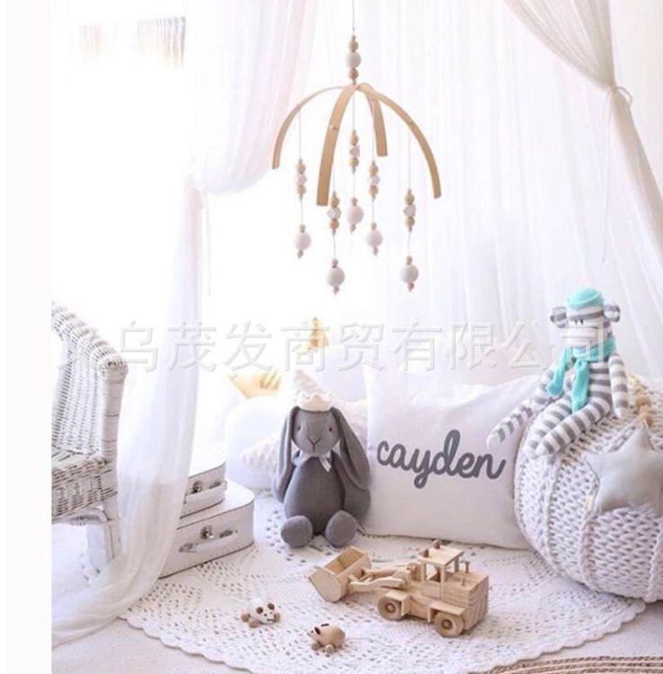 INS爆款婴儿床木珠挂饰玩具婴幼儿安抚床挂视觉激发早教益智玩具