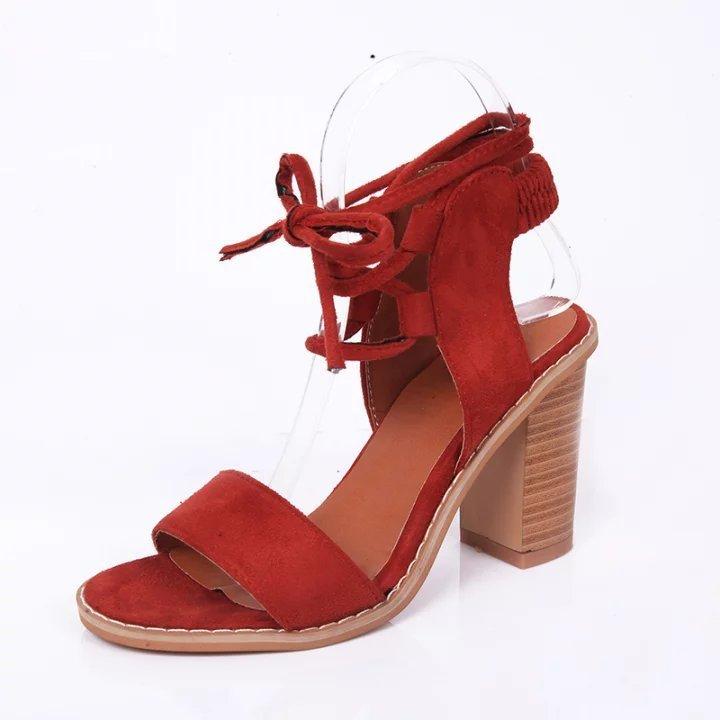 wish夏季新款凉鞋女鞋粗跟高跟一字绑带高跟鞋速卖通凉鞋