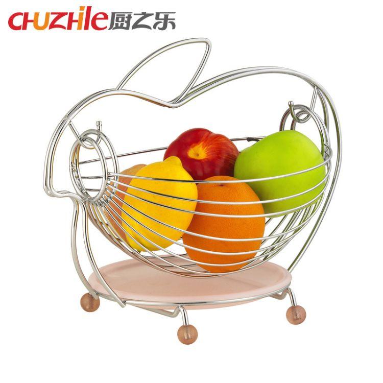 创意小动物水果沥水篮  家用客户零食水果收纳篮子  铁艺摇摆果篮
