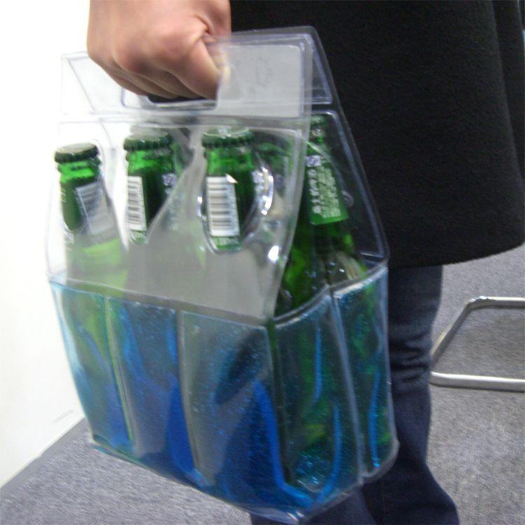 定制手提冰酒套 凝胶酒套冰袋 6瓶装啤酒套 外贸野炊酒套