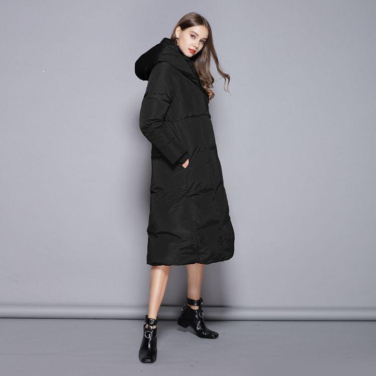 新款白鸭绒羽绒服女2018秋冬保暖修身长款加厚过膝连帽羽绒服外套