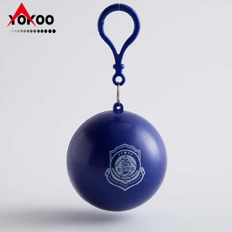 塑料球钥匙扣便携一次性雨衣,广告一次性雨衣球, 可加印logo