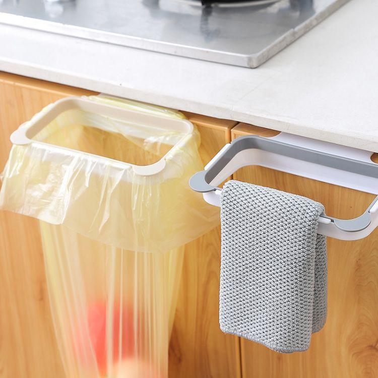 卡通熊猫厨房橱柜门卡位垃圾袋收纳 抹布架创意垃圾袋挂架