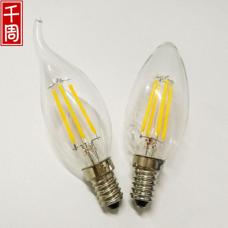 厂家直销 C35爱迪生灯泡复古led灯丝灯E14尖泡拉尾蜡烛灯泡白炽灯
