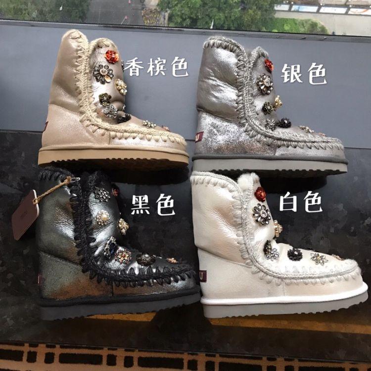 冬季新款广州高版本24cm花朵水钻保暖羊皮毛平底女靴中筒雪地靴