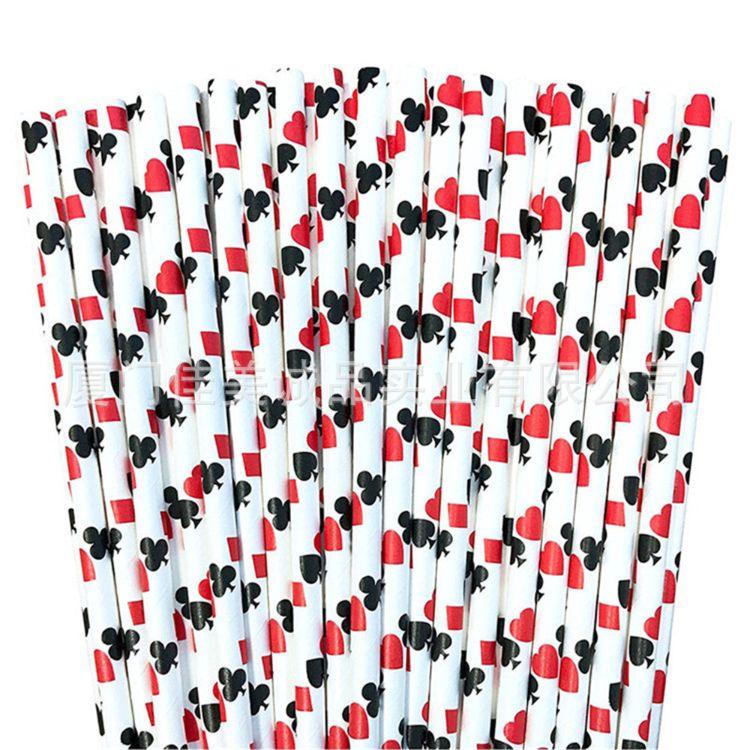 跨境亚马逊套装 环保彩色可降解牛皮纸纸牌纸吸管套装 25根包装