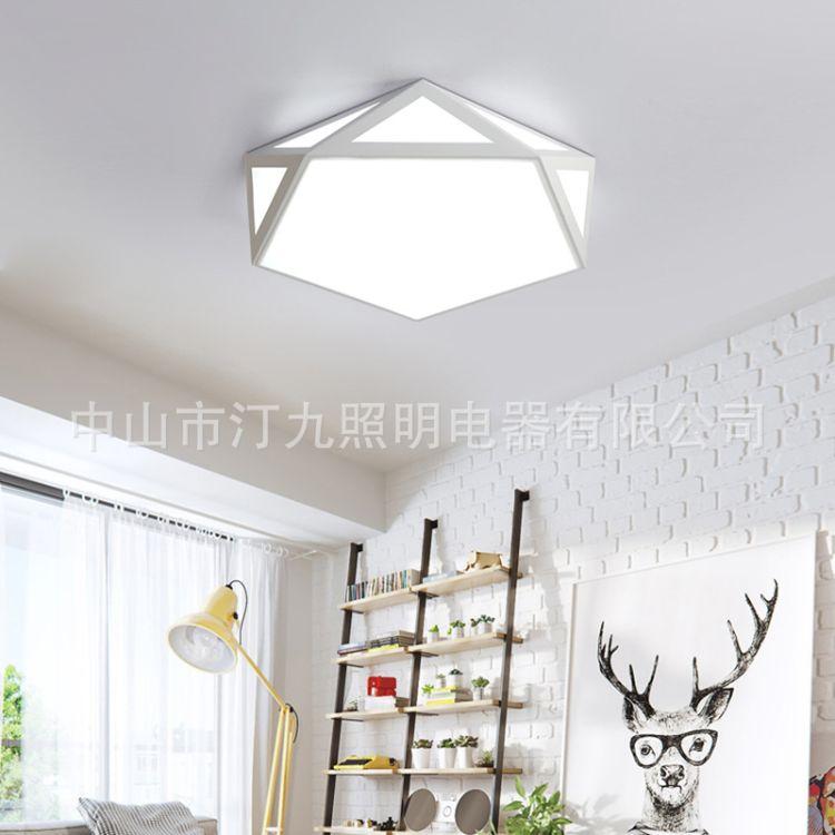 北欧风格灯温馨卧室灯房间灯主卧LED简约现代镂空几何网红吸顶灯